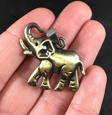 Cute Walking Elephant Pendant Necklace in Bronze Titanium Steel #cvYMp6Nb0CE