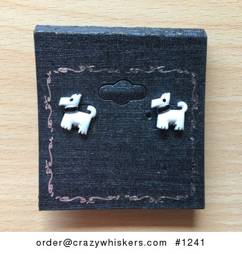 Cute White Terrier Dog with Black Collar Stud Earrings #MlI0zm5FQTM