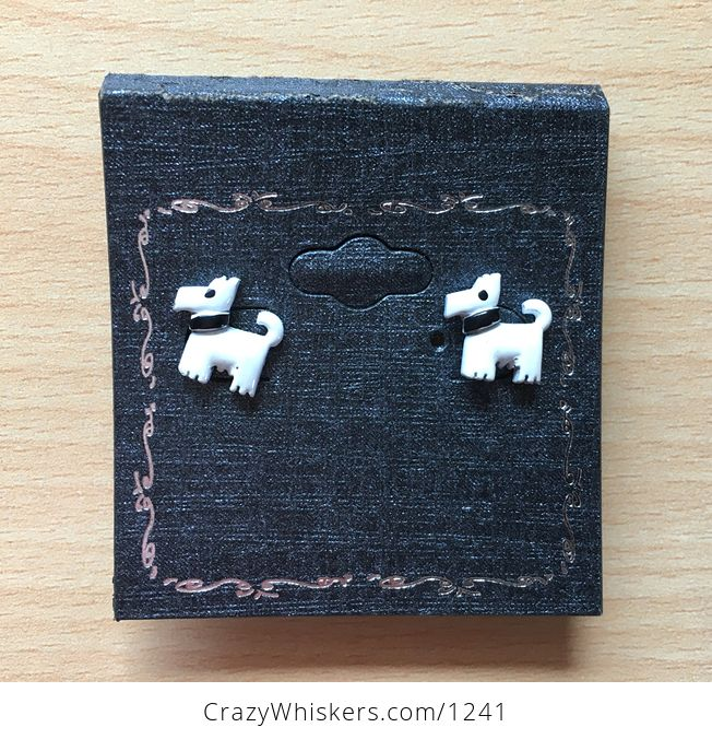 Cute White Terrier Dog with Black Collar Stud Earrings - #MlI0zm5FQTM-1