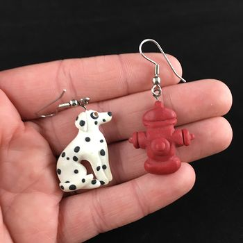 Dalmatian Dog and Fire Hydrant Polymer Clay Earrings #bBCQJAXBdDk