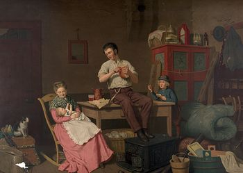 Digital Illustration of a Caucasian Family in Their New Home After Just Moving #rkpzm8iht0A