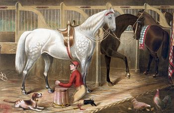 Digital Illustration of a Dog Watching a Jockey Kneeling and Praying for a Successful Race in a Horse Stable #p282OKTxqUg
