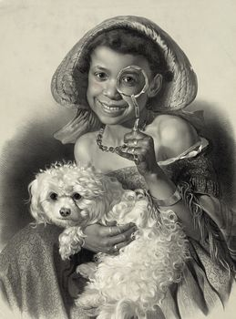 Digital Illustration of a Happy African American Girl with a Dog Holding a Magnifying Glass #4cLlL1Z1Y5s