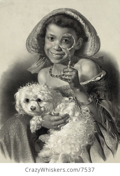 Digital Illustration of a Happy African American Girl with a Dog Holding a Magnifying Glass - #4cLlL1Z1Y5s-1