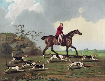 Digital Illustration of a Man Captain Ricketts on Horseback Fox Hunting with Dogs #9JWFjX0EnbA