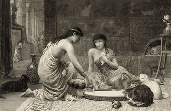 Digital Illustration of a Sepia Toned Scene of Two Young Women Feeding Kittens and Cats Around a Large Saucer #K7Pk2qqqgtU
