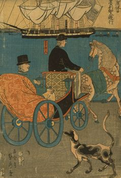 Digital Illustration of a Tourist in a Carriage in Japan #HAIj9h2fivE