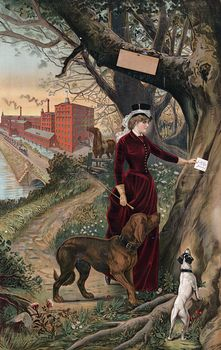 Digital Illustration of a Woman in Horseback Riding Clothes Putting a Note in a Tree Her Dogs Beside Her and Horse and Mill in the Background #zsncvz8HhQQ