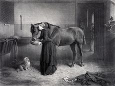 Digital Illustration of a Woman Reeding and Leaning Against a Horse While a Dog Watches and a Kitten Plays a Man Standing in the Background #jmwWVrLEqkw