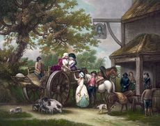 Digital Illustration of Horses Pigs and a Dog with People and a Cart in Front of a Tavern #KnwvkENM9fQ