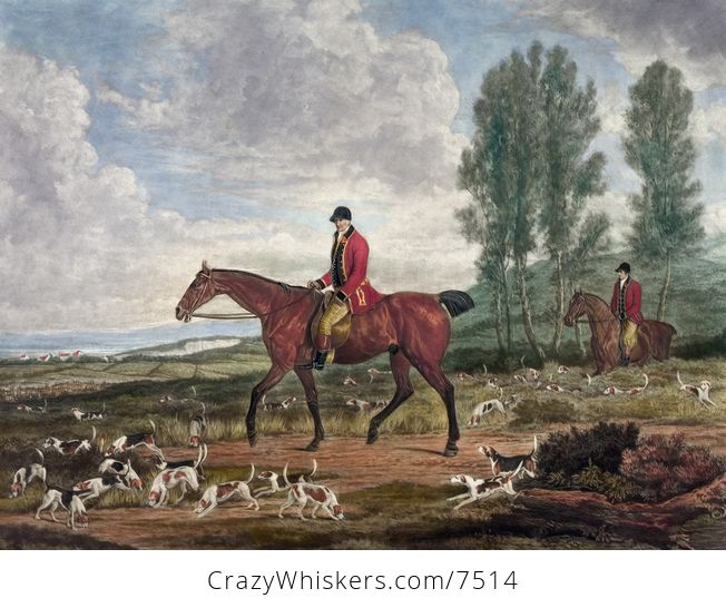 Digital Illustration of Two Men on Horseback Fox Hunting with Dogs - #KL5wnLclEMQ-1