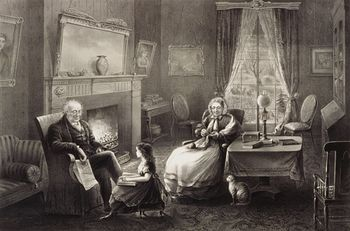 Digital Image of a Cat Old Man Reading and an Old Woman Knitting While Listening #60Eh339HRVA