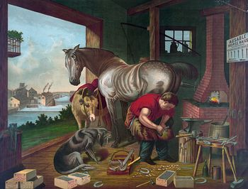 Digital Image of a Donkey and a Dog Watching a Farrier Applying Horseshoes to a Horse #TitUA0hqWik
