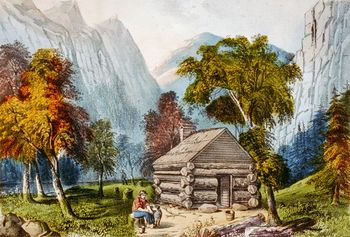 Digital Image of a Log Cabin in Yosemite #tkeHbKkn1BU