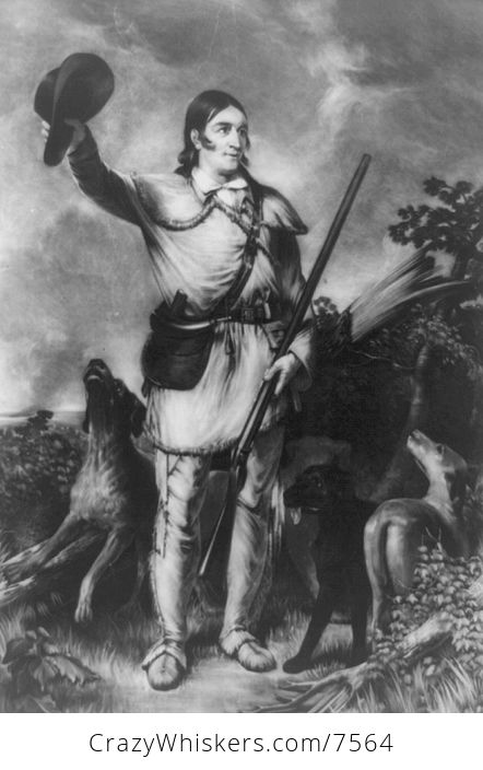 Digital Image of Dogs and Colonel David Crockett - #tVbkqKy8QEg-1