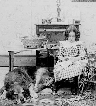 Digital Photo of a Dog Resting by Girl Sewing a Doll #5rcx6fokhfg
