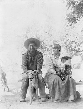 Digital Photo of a Historical Pomo Indian Family and Dog #FIcmZWErdZY