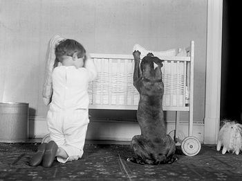 Digital Photo of a Little Boy Child and His Dog Kneeling by a Crib #nDPKwXNJjwU