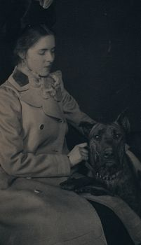 Digital Photo of a Woman and Great Dane #OOcICfOIPPo
