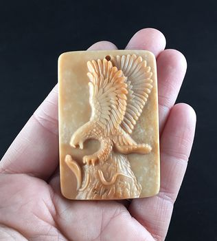 Eagle Fighting a Snake Carved in Red Malachite Stone Pendant Jewelry #zvNrFlkuOVY