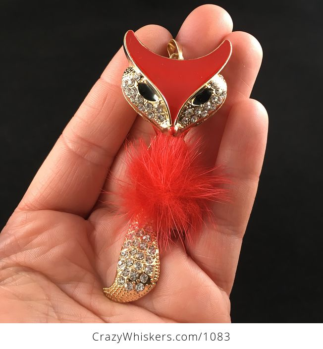 Fluffy Poof Ball Red Fox Pendant with Rhinestones on Textured Metal and Wiggly Tail - #RrC49LRNwm0-1