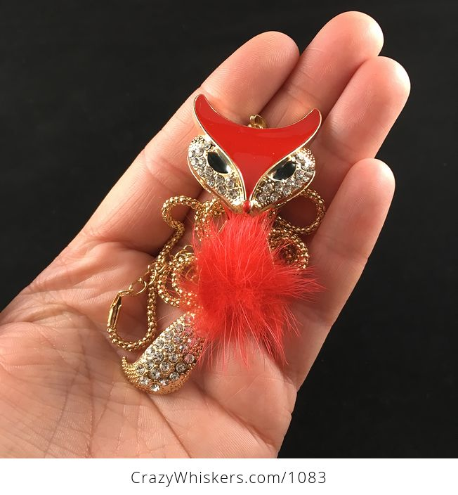 Fluffy Poof Ball Red Fox Pendant with Rhinestones on Textured Metal and Wiggly Tail - #RrC49LRNwm0-4