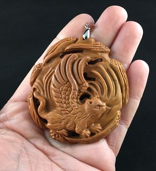 Flying Angel Cat Carved Red Malachite Stone Pendant Jewelry #JLoLUYSPJcI