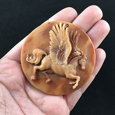 Flying Horse Pegasus Carved Red Malachite Stone Pendant #U1IvP0Hj7y4