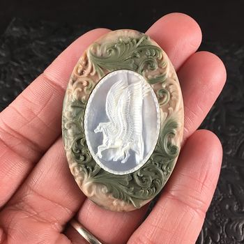 Flying Pegasus Horse Carved in Mother of Pearl Shell and Set in Green and Beige Ribbon Jasper Stone Jewelry Pendant #bwWBFzm22M8