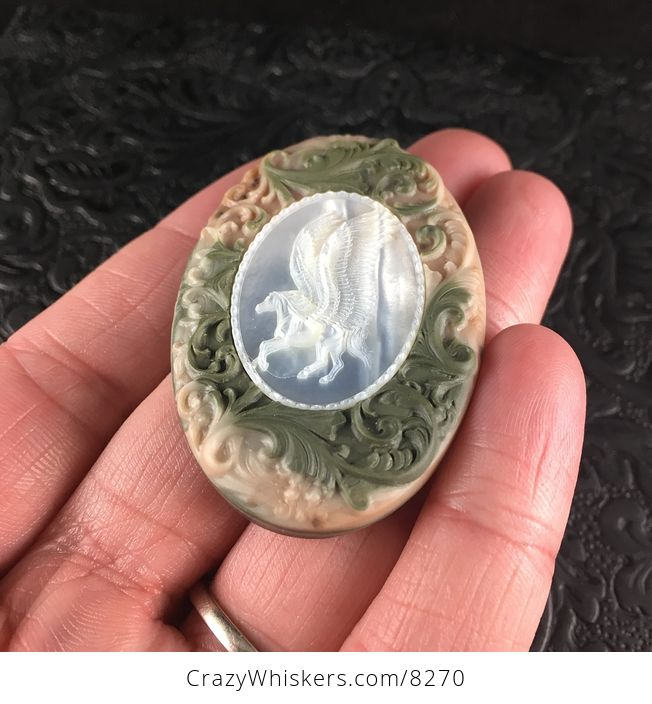 Flying Pegasus Horse Carved in Mother of Pearl Shell and Set in Green and Beige Ribbon Jasper Stone Jewelry Pendant - #bwWBFzm22M8-2