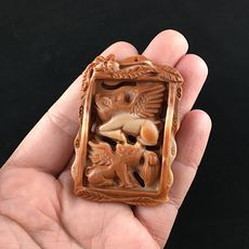 Flying Pigs Carved Red Jasper Stone Pendant Jewelry #kGKGVesRydc