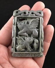 Flying Pigs Carved Ribbon Jasper Stone Pendant Jewelry #Eyq0YlNNb68