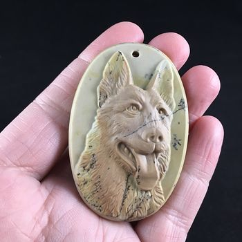 German Sheperd Dog Carved Ribbon Jasper Stone Pendant Jewelry #d7yJip3TNQU