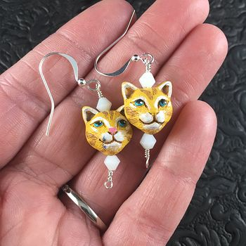 Ginger Orange Hand Painted Peruvian Ceramic Kitty Cat Face Earrings #pD8m3LYwNDM