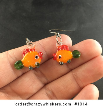 Glass Lampwork Fish Earrings with Hooks #CMql7yAjq0U