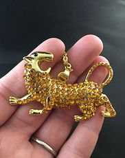 Gold Tone and Rhinestone Angry Big Cat Pendant #6fTPviqoVKo
