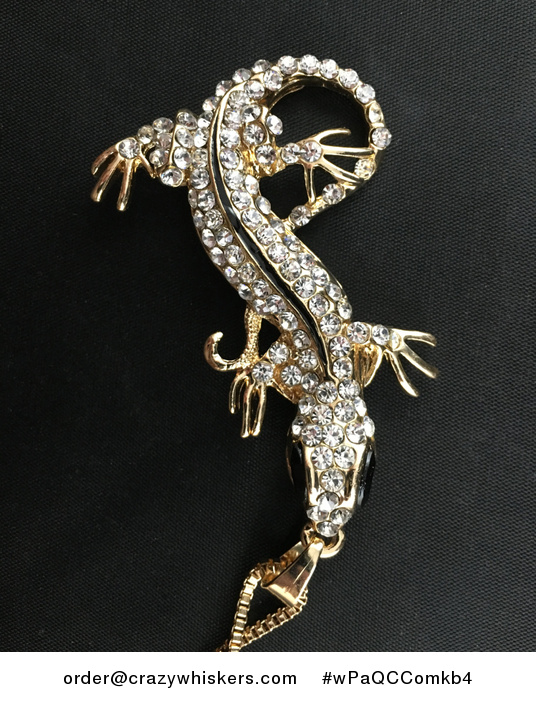 Gold Tone Lizard Pendant with Enamel and White Rhinestones - #wPaQCComkb4-3