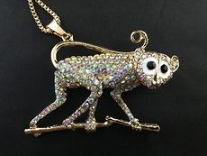 Gorgeous Monkey on a Branch Rhinestone Pendant #NgqE55SeHyE