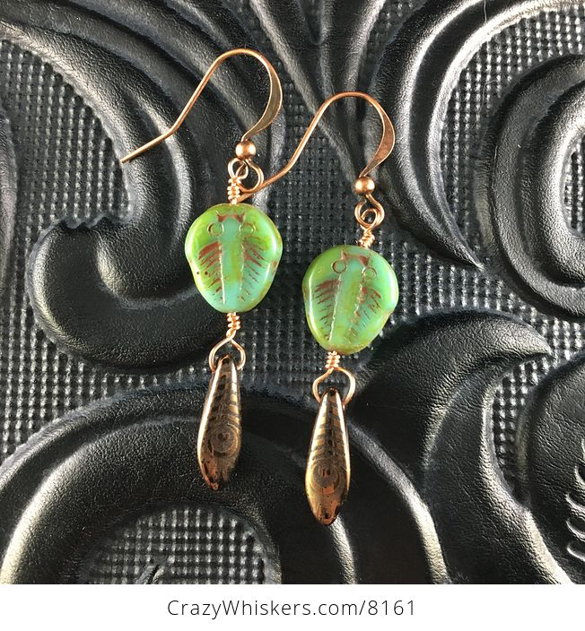 Green Blue and Brown Trilobites and Black and Bronze Feather Patterned Dagger Earrings with Copper Wire - #qwYrKCVXGtw-1