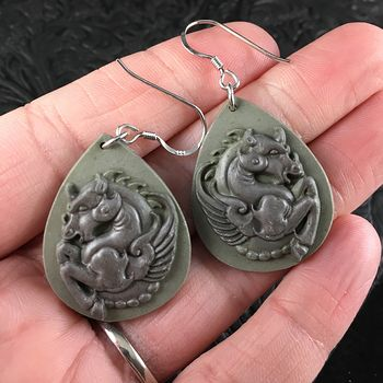 Green Ribbon Jasper Stone Pegasus Earrings #OXBek8lhMjw