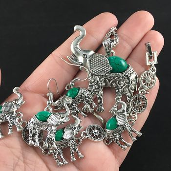 Green Stone and Silver Elephant Necklace Bracelet and Earrings Jewelry Set #1frZyAOAr9k