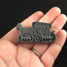 Horse and Buggy Earrings Brooch Necklace and Trinket Jewelry Box Set Vintage Torino Pewter #xECmRdzr96A
