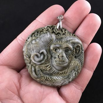 Hugging Monkeys Carved Ribbon Jasper Stone Pendant Jewelry #Ptxlqmxd554