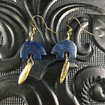 Lapis Lazuli Bear and Etched Golden Dagger Earrings with Gold Wire #pathfj7VfU8
