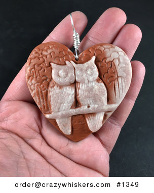 Large Carved Perched Owl Pair in a Heart Beige and Red Ribbon Jasper Stone Pendant with Wire Bail #9OIzFKFbr8I