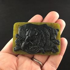 Large Mamma Bear and Cubs Carved in Black Jasper on Lemon Jade Stone Pendant Jewelry #MEguQdHDIJY