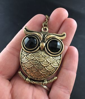 Large Owl with Big Black Rhinestone Eyes and Textured Vintage Gold Tone Finish #7at2AErfRfo