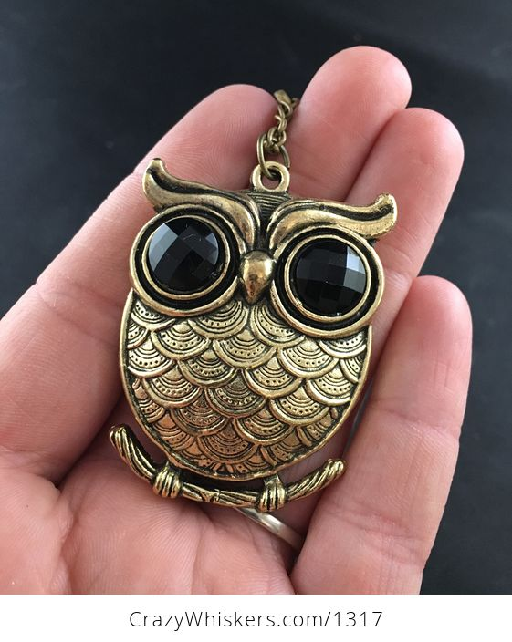 Large Owl with Big Black Rhinestone Eyes and Textured Vintage Gold Tone Finish - #7at2AErfRfo-1