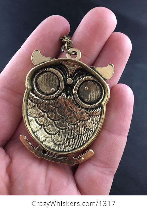 Large Owl with Big Black Rhinestone Eyes and Textured Vintage Gold Tone Finish - #7at2AErfRfo-2