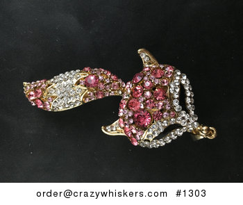 Large Pink Fox Face and Tail Pendant with Crystal Rhinestones on Told Tone #xAuiAy6ESVU